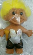 """Troll Dressed Rocker Lady 5"""" #18635 Toy Doll Yellow Hair Russ Troll Collectible"""