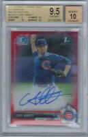 CORY ABBOTT 2017 BOWMAN CHROME RED REFRACTOR AUTO RC BGS 9.5 10 #5/5 CUBS