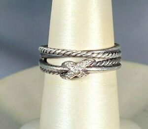 David Yurman 925 Sterling Diamond Cable Crossover X Ring 0.05ctw size 7.25