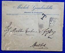 1909 Italy - Malta cover + Tax Cancel + P.D. 2d Unframed type