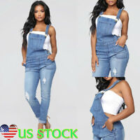 Jumpsuit Womens Straps Denim Jeans Bib Pants Overalls Rompers Suspender Trousers