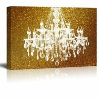 """Wall26 - Canvas - Crystal Chandelier on Glittering Golden Background - 16""""x24"""""""