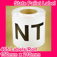 5 Rolls of State Label/Pallet Label - NT (150mm x 210mm, 2325 Labels in total)