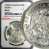 Mexico Silver 1898 MO AM Peso NGC MS62 Mexico City Restrike Mint Luster KM#409.2