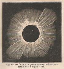 A8869 Eclisse Solare del 8 luglio 1842 - 1895 xilografia - Vintage Engraving