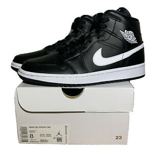 Nike Air Jordan 1 Mid 'Black White' Shoes Women's Size 8 BQ6472-011 NEW In Hand