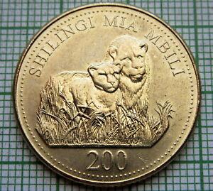TANZANIA 1998 200 SHILINGI, TWO LIONS, UNC