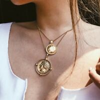 Women Punk Coin Multi-Layer Choker Collar Chunky Pendant Chain Necklace Jewelry