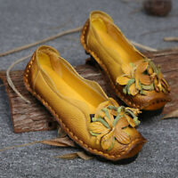 SOCOFY Women Ethnic Style Handmade Cowhide Flower Pull On Shoes Soft Loafers