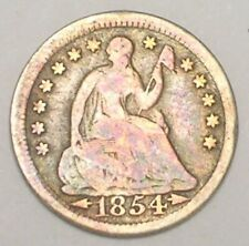 1854 Seated Liberty Half 1/2 Dime 5 Cents Silver Coin