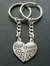New Best Friends BFF Silver Metal Heart Shape Keyring Keychain Charm Set V8 Gift