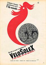 PUBLICITE ADVERTISING 045  1956  VELOSOLEX  1° cyclomoteur du monde