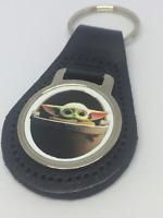 Mandalorian Baby Yoda Star Wars Leather Key Fob Keyring NEW