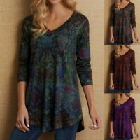 Womens Tunic Floral Ladies V-neck T-Shirt Long Sleeve Tops Jumper Plus Size Boho