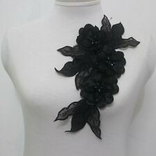 1Pcs Leaves Flowers Chiffon Crystal Beaded Lace Applique Motif~Sew On~Black