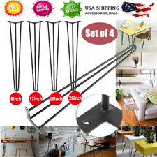 """Set of 4 2-ROD Coffee Metal Table Hairpin Legs 8"""" 12"""" 16"""" 28"""" 30"""" Solid Iron Bar"""