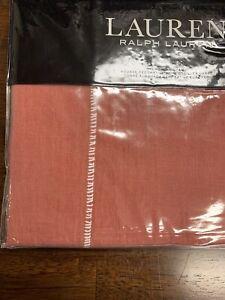 1 Ralph Lauren Cayden Rustic Coral Linen Euro Sham $135