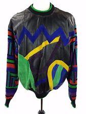 NWT Vtg 80s 90s Saxony Leather Color Block Biggie Cosby Sweater, Mens Medium