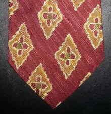 Joseph Abboud Tie Silk Maroon Gold Geometric Diamond NIB t2523