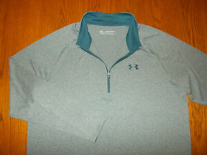 NEW UNDER ARMOUR 1/2 ZIP LONG SLEEVE HEATHER BLUE LOOSE FIT TOP MENS 2XL