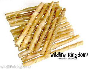 ✔ 400 x 7-8mm Natural Rawhide Twists Sticks Dog Chews 5 Inch Treats Chew Reward✔