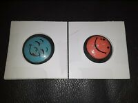 Lot of 2 Smiley Happy Face blue& Pink Pin Vintage Old Metal Button Round Pinback