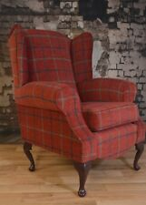 Wing Back/ Country Cottage Queen Anne Claret Deep Red Check Armchair.