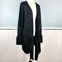 SIZE 1X Style & Co Womens Plus Black Flyaway Open Cardigan Sweater Tunic NWT New