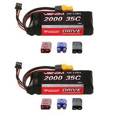 Venom 35C 2S 2000mAh 7.4V LiPo Battery with Universal Plug x2 Packs