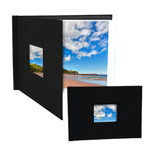 """Pinchbook Photo Album Cover* (8.5"""" x 11.75"""") (A4 Landscape) Black, With Window"""