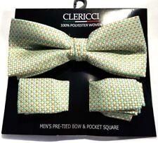 MENS BOW TIE CHECK GREEN ORANGE TIE POCKET SQUARE PRE-TIED BOW ADJUSTABLE CLIP