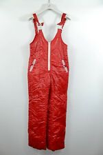 Vintage 80s Red Ski Suit Bottom Snowsuit Coveralls Winter Overalls sz S BK52