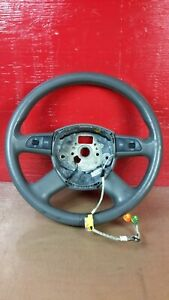 2005-2008 AUDI A6 C6 4-Spoke Leather Heated Steering Wheel Gray OEM