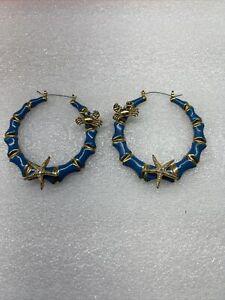 Betsey Johnson Nautical Crab Starfish Rhinestone Hoop Earrings Rare