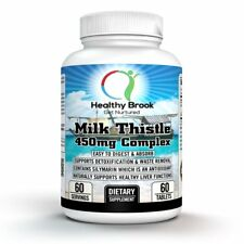 Healthy Brook Milk Thistle Silymarin 450 mg, 60 tabs LIVER CLEANSE, WEIGHT LOSS