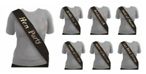 NEW BLACK HEN PARTY SASHES HEN NIGHT PARTY DO ACCESSORIES BRIDE TO BE SILVER