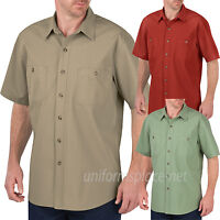 Dickies Shirt Mens Short Sleeve Canvas Shirts Relaxed Fit Washed Cotton WS634