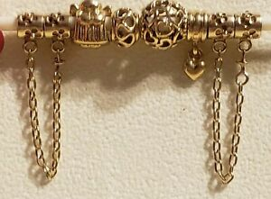Authentic Lot Pandora ALL 14k GOLD 585 ALE 14g 2 Hawthorne chains Heart Angel ++
