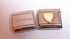 WHITE GLITTER LOVE HEART 9mm Italian Charm + 1x Genuine Nomination Classic Link