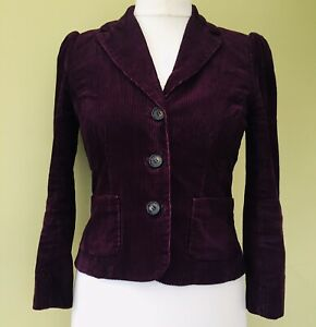 Hobbs corduroy Jacket NW3 Patchway 10 Purple cotton Puff sleeve Q4