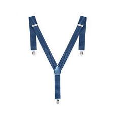 35mm Unisex Mens Braces Navy Dot Wide Heavy Duty Suspenders Adjustable Elastic