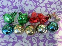 Lot of 10 Plastic Bells & Disco Ball Christmas Ornaments Vintage Decorations