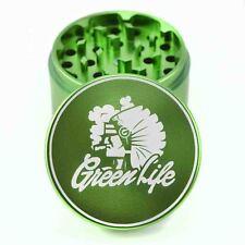"Green Life Chiefin Green 2.5"" 4pc Muller Herb Tobacco Grinder Crusher Sharpstone"