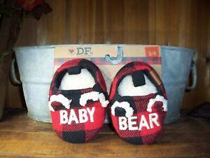 DEARFOAM BABY BEAR BABY SLIPPERS SHOES SIZE 3-4 RED PLAID FUR LINED  MEMORY FOAM