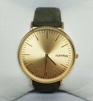 Ladies Rumba Gold Tone Olive Green Leather Minimal Analog Quartz Watch A4