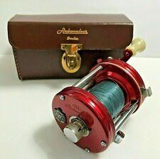 Vintage Red ABU Ambassadeur Sweden 6000C Fishing Bait Casting Reel with Case