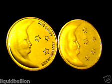 1 GRAM .999 PURE SILVER BULLION MOON ROUND DIPPED IN 24K GOLD INVESTMENT GRADE