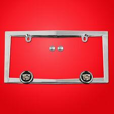 Chrome Cadillac License Plate Frame with Chrome Screw Caps,  tag bracket holder