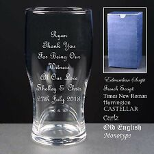 Personalised Tulip Pint Glass,Wedding Favour,Thank You For Being Our Witness