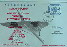 """FFC NORVEGE à bord """"CONCORDE - 1er Vol AF4867 Stavanger - Paris"""" 1988 signée"""